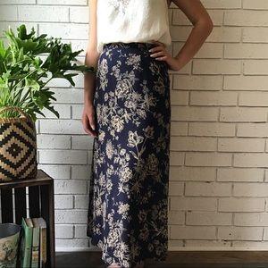 Talbots | 100% Silk Maxi Skirt Blue/Cream Floral